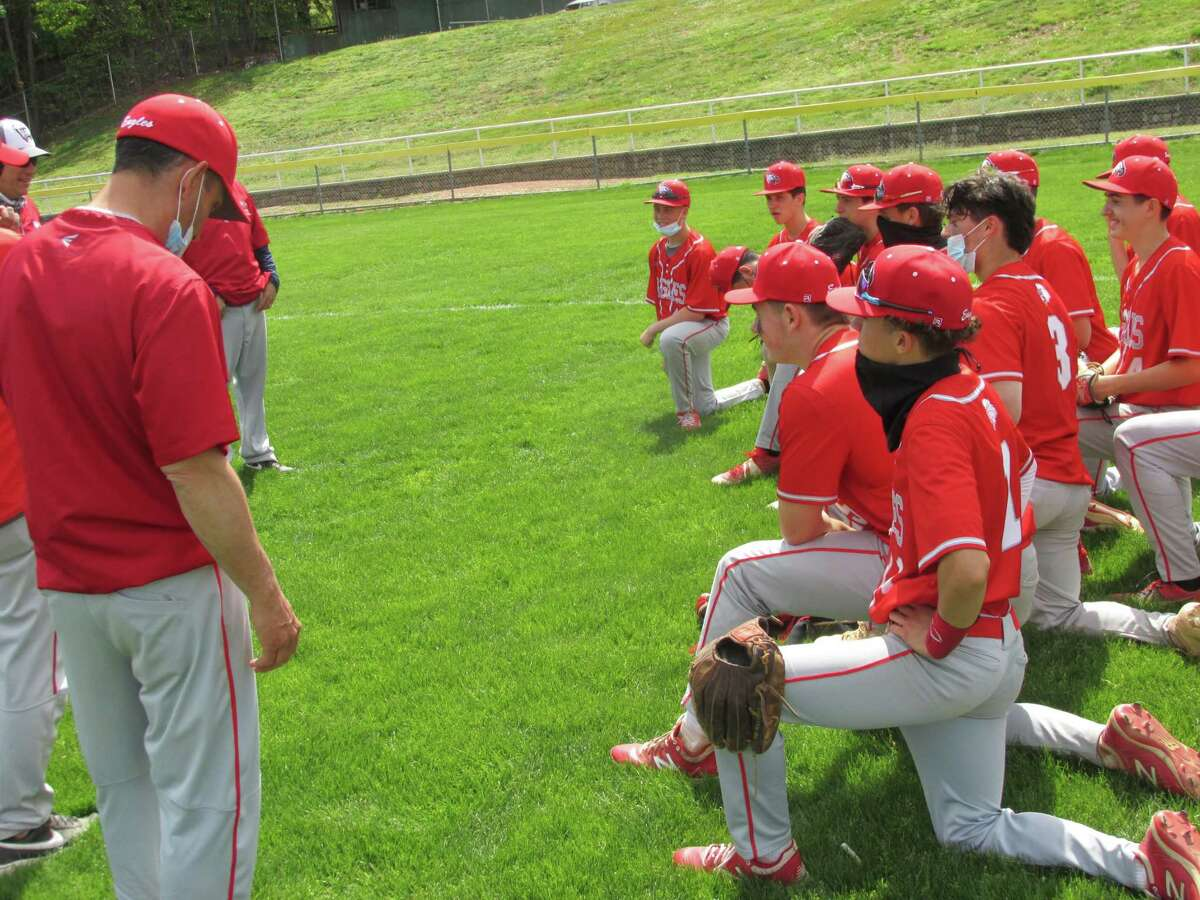 All Eagle eyes are on their coaches after a big Wolcott team win at Torrington's Fuessenich Park Saturday afternoon.