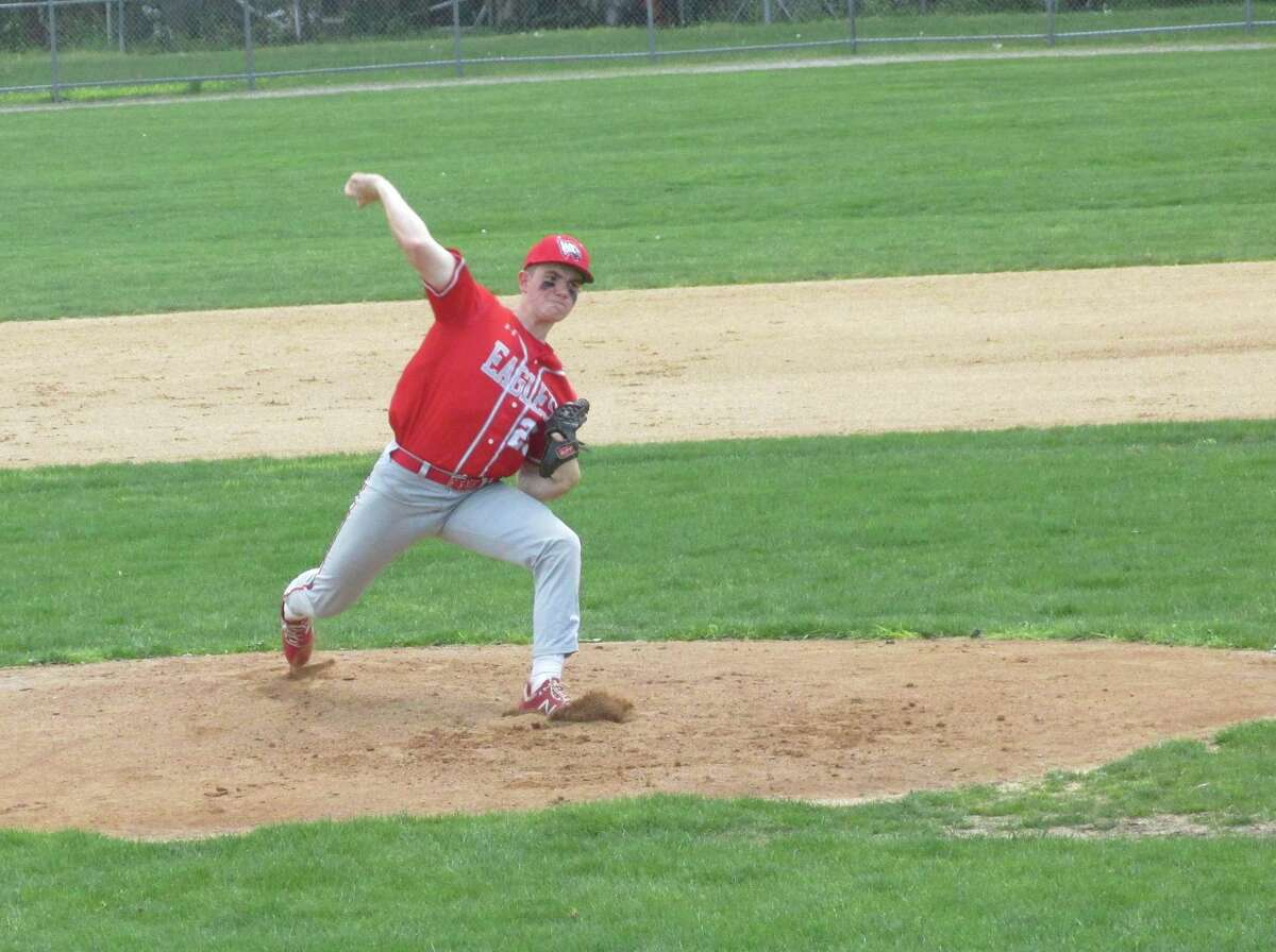 Wolcott's Kyle Hensel threw a one-hitter in the Eagles' six-inning mercy rule win over Torrington at Fuessenich Park Saturday afternoon.