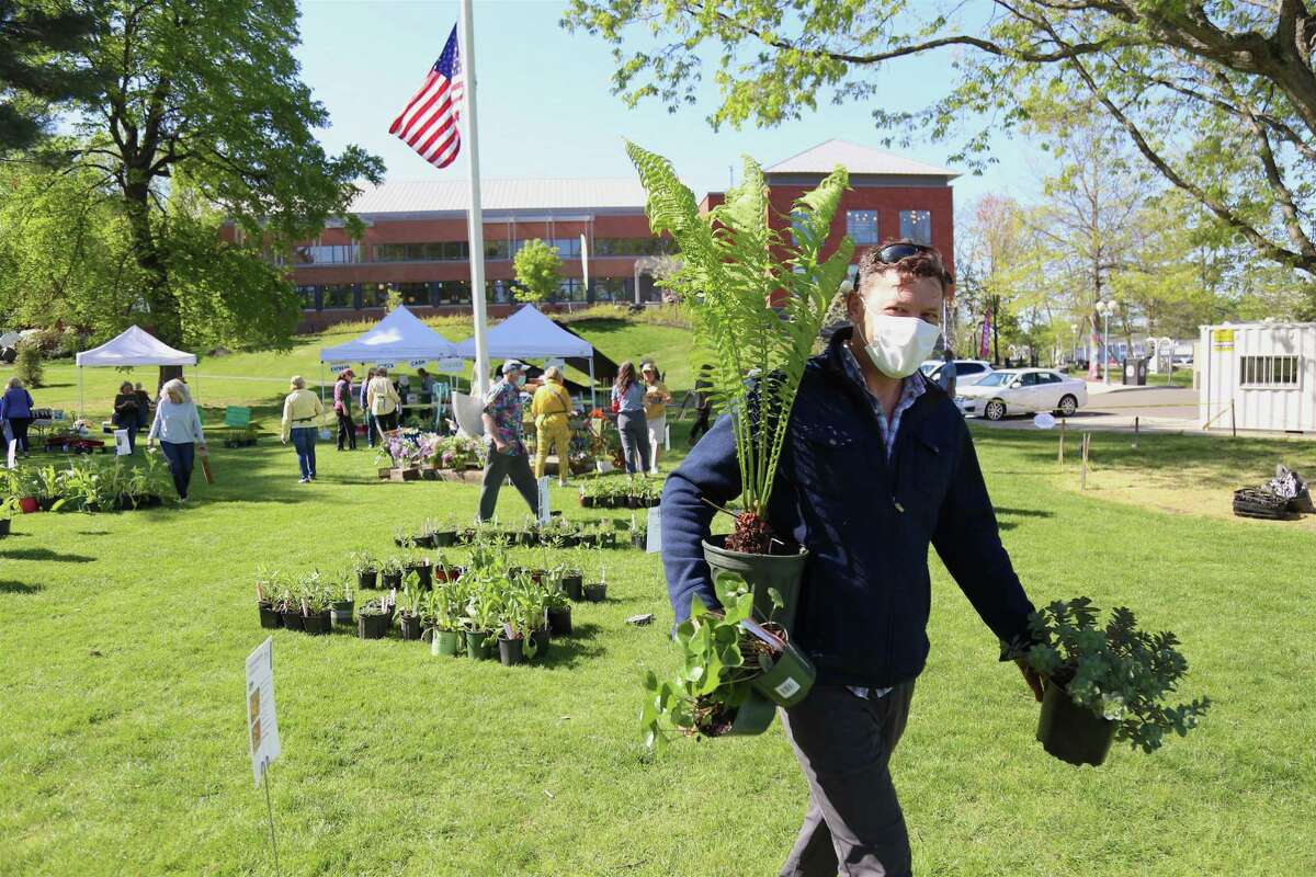 Nick Shields, of Westport, enjoys the annual Westport Garden Club plant sale on Friday, May 14, 2021, on Jesup Green.