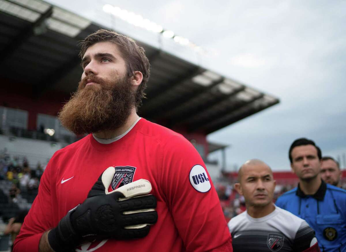 San Antonio FC goalkeeper Matt Cardone stands with his club during the national anthem before a 2016 USL match at Toyota Field in San Antonio.