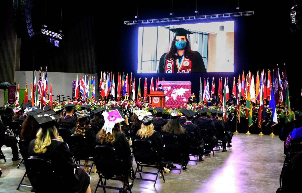 TAMIU Student Government Association Student Body President Mariana Rodriguez speaks on behalf of the gradutes in a video played on screen at the TAMIU Spring Commencement Ceremony, Friday, May 14, 2021 at the Sames Auto Arena. The ceremony is TAMIU's first in person commencement since December 2019.