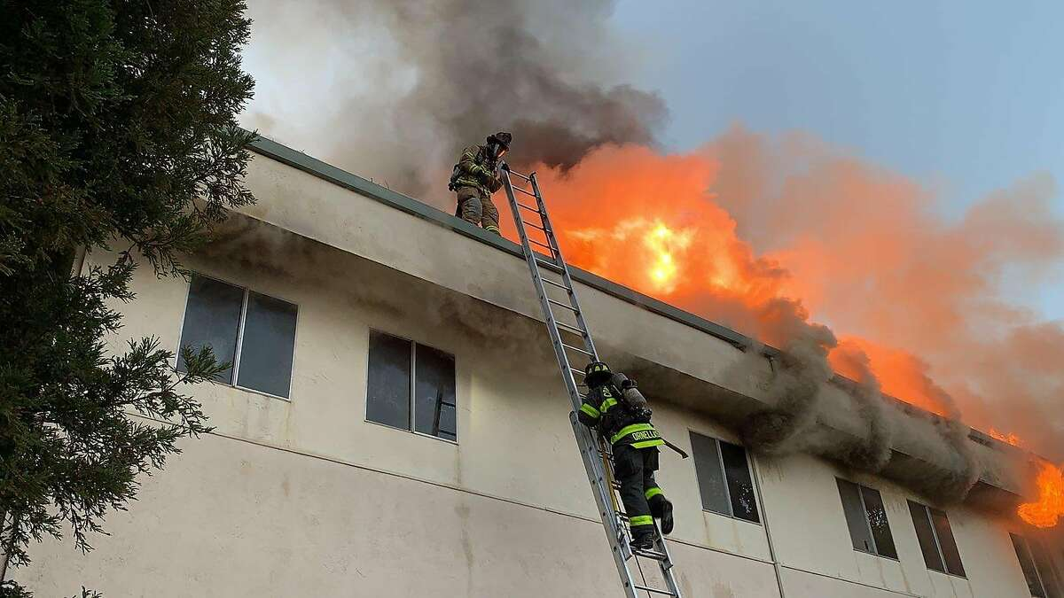 This file photo shows firefighters responding to a blaze at the Christ Community Church of the Nazarene in Concord. The fire that damaged the church in Concord earlier this week was caused by