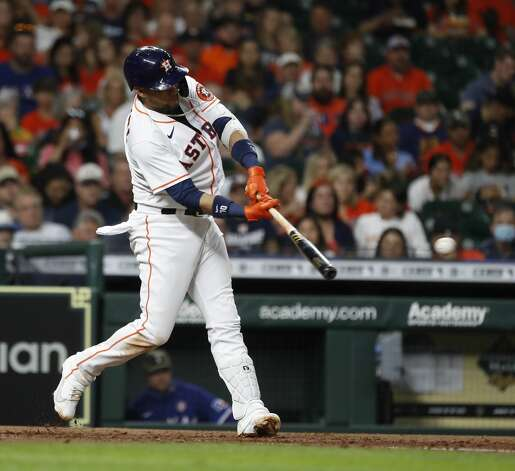 Houston Astros Yuli Gurriel (10) hits a double during the fifth inning of an MLB baseball game at Minute Maid Park, Saturday, May 15, 2021, in Houston. Photo: Karen Warren/Staff Photographer / @2021 Houston Chronicle