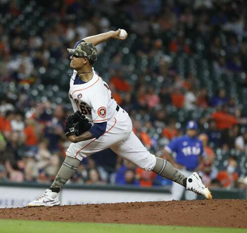 Houston Astros starting pitcher Bryan Abreu (66) pitches during the sixth inning of an MLB baseball game at Minute Maid Park, Saturday, May 15, 2021, in Houston. Photo: Karen Warren/Staff Photographer / @2021 Houston Chronicle
