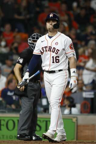 Houston Astros left fielder Aledmys Diaz (16) reacts after striking out during the sixth inning of an MLB baseball game at Minute Maid Park, Saturday, May 15, 2021, in Houston. Photo: Karen Warren/Staff Photographer / @2021 Houston Chronicle