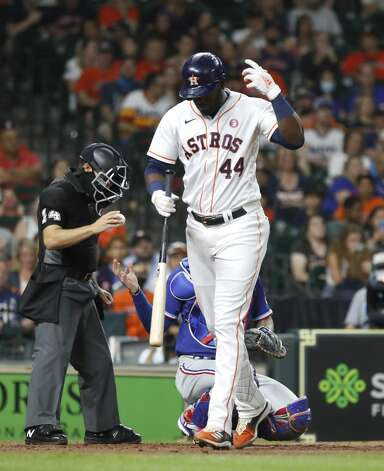 Houston Astros designated hitter Yordan Alvarez (44) reacts after fouling a ball off his hand during the sixth inning of an MLB baseball game at Minute Maid Park, Saturday, May 15, 2021, in Houston. Photo: Karen Warren/Staff Photographer / @2021 Houston Chronicle