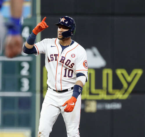 Houston Astros Yuli Gurriel (10) stands on second base after hitting a double during the fifth inning of an MLB baseball game at Minute Maid Park, Saturday, May 15, 2021, in Houston. Photo: Karen Warren/Staff Photographer / @2021 Houston Chronicle