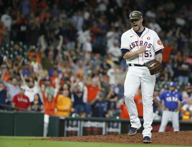 Houston Astros relief pitcher Ryan Pressly (55) reacts after striking out Texas Rangers Nate Lowe to end the ninth inning of an MLB baseball game at Minute Maid Park, Saturday, May 15, 2021, in Houston. Photo: Karen Warren/Staff Photographer / @2021 Houston Chronicle