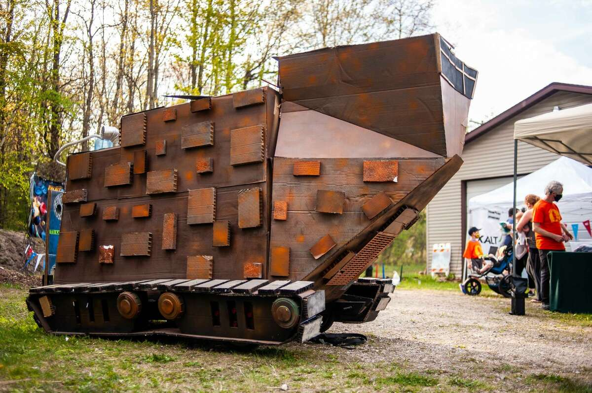 A sandcrawler made from cardboard sits at the Midland Recyclers 5K Fun Run/Walk event on May 15, 2021, at the Midland City Forest.