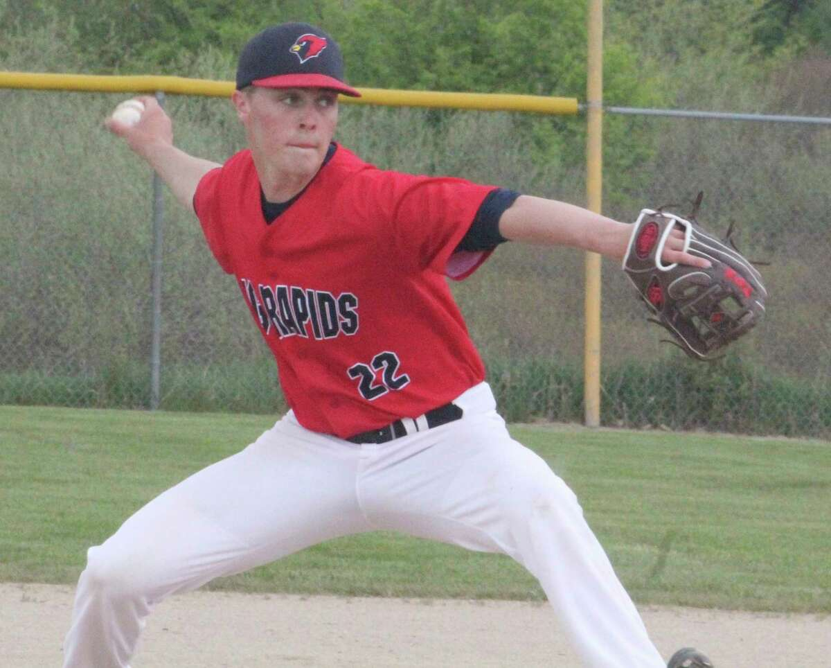 Big Rapids' Ben Knuth delivers a pitch against Traverse City West on Saturday. (Pioneer photo/John Raffel)
