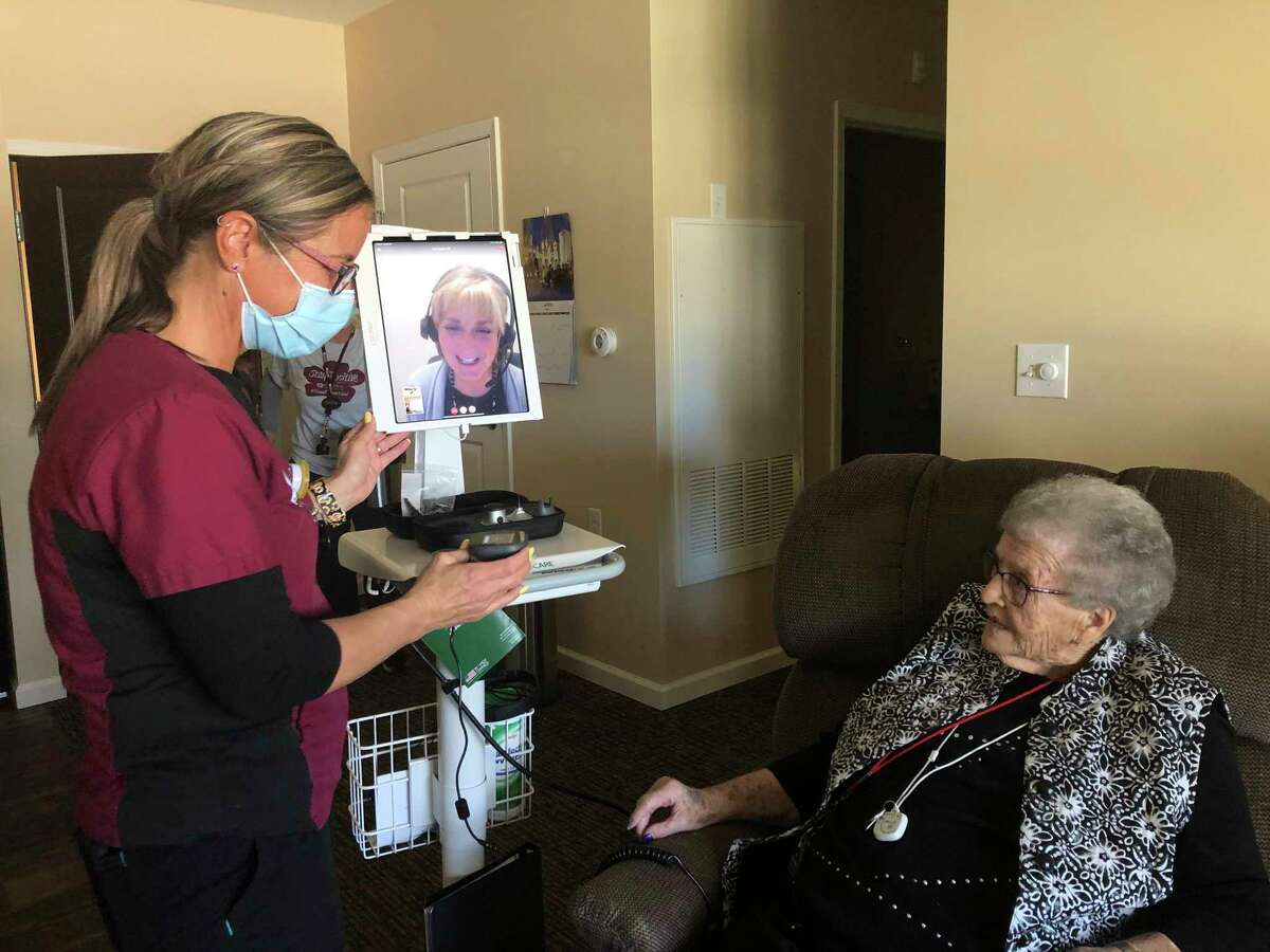 Utilizing a mobile cart equipped with advanced virtual care technology, local staff can easily consult with the eCARE Senior Care team regarding fall assessments, minor illnesses or health issues, questions about medications, and more. (Photo provided)