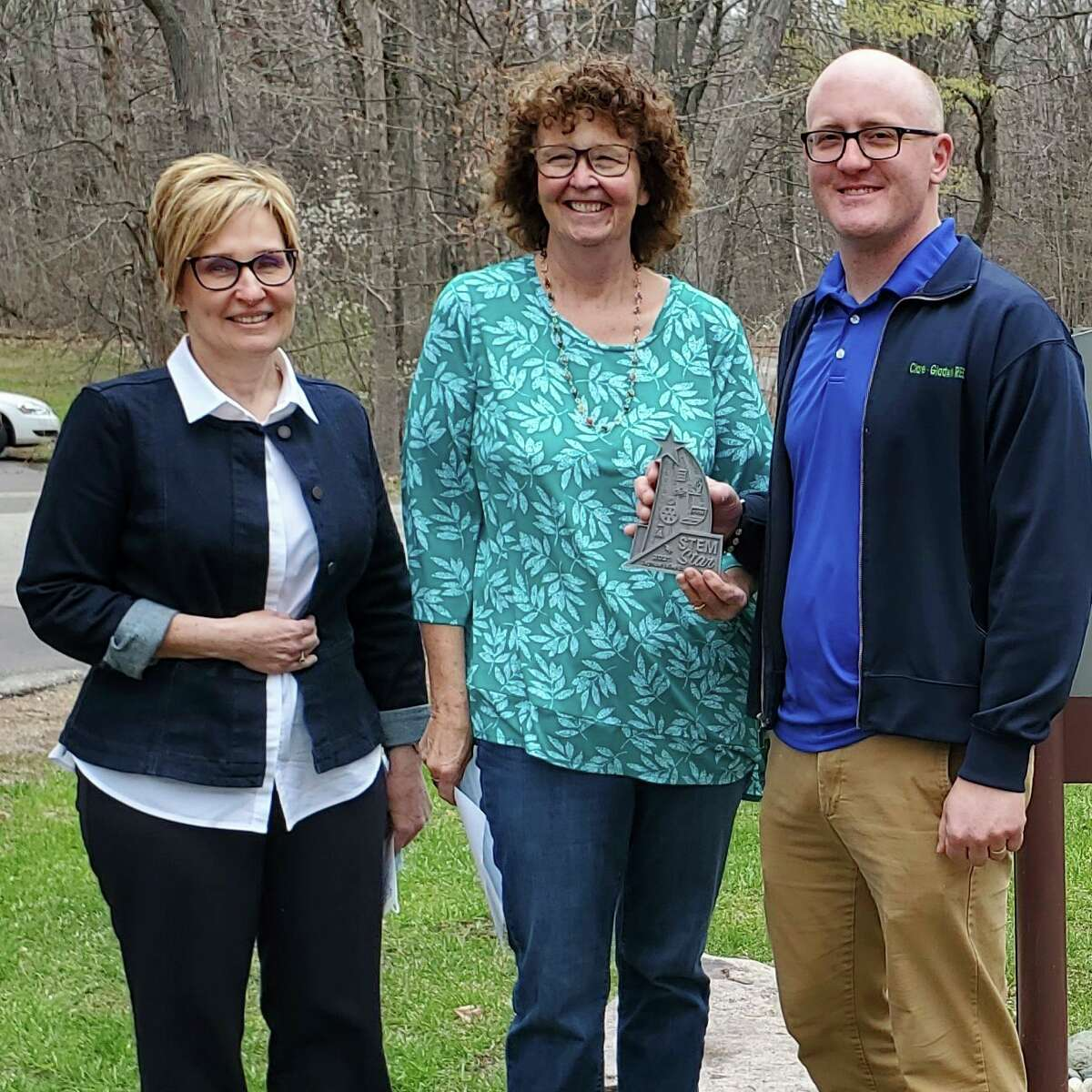 Clare-Gladwin RESD's Joe Trommater, right, is pictured withCGRESD's Deb Snyder, left, andSVSU's Claire Bunker, center.