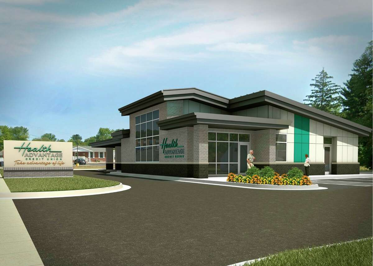 Thisarchitectural rendering depicts the new Health Advantage Credit Union branch that will open in Midland. Construction on the planned 2,500-square-foot branch will begin later this month on Eastman Avenue near North Saginaw Road. The facility is expected to open during the summer of 2022.