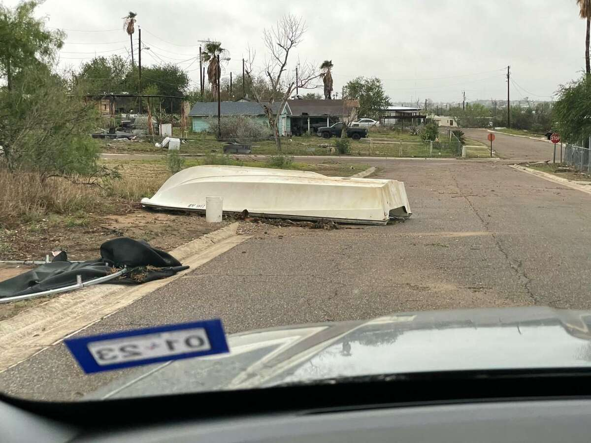 Shown is damage from last week's storm in Zapata County.