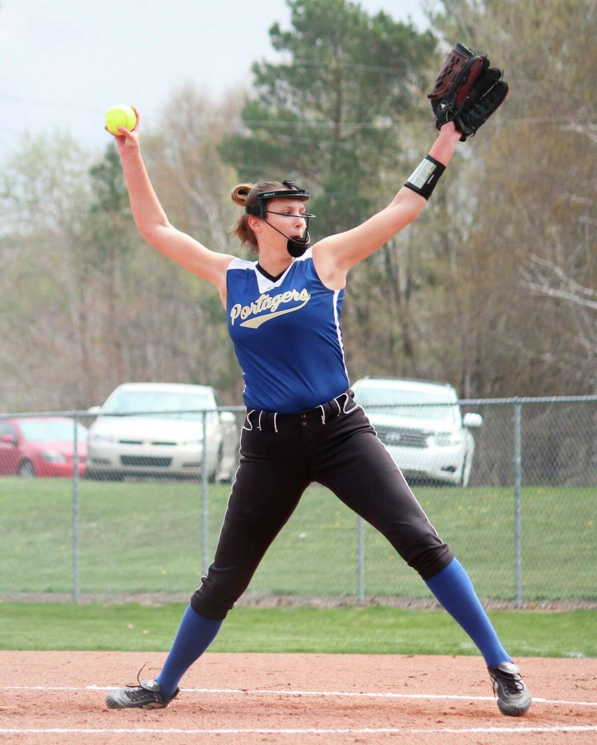 Onekama's Sophie Wisniski struck out 20 batters total in the Portagers' doubleheader with Hart on Friday. She also had two home runs at the plate. (News Advocate file photo)