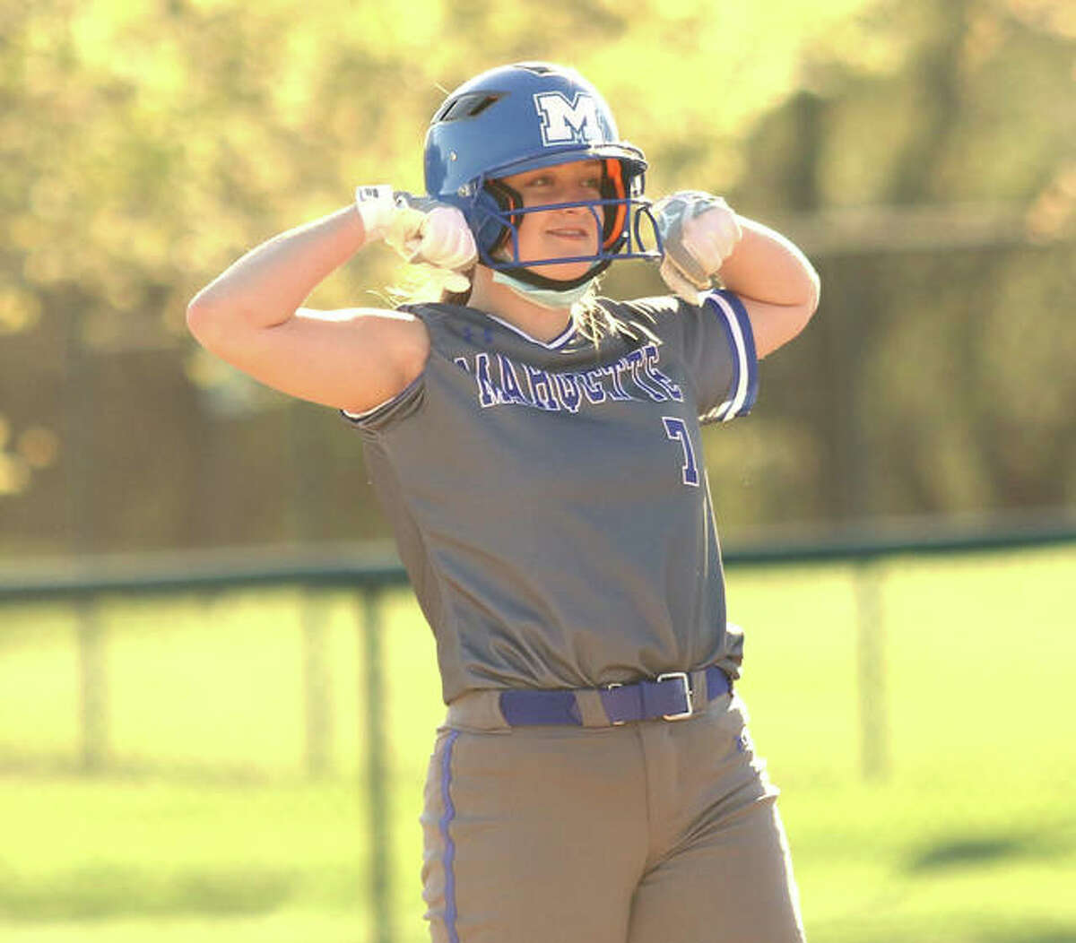 Marquette Catholic's KB Kirchner, shown looking to the Explorers' dugout after hitting a double earlier this season, had a double, a home run and four RBI in Saturday's win over Mater Dei in Breese.