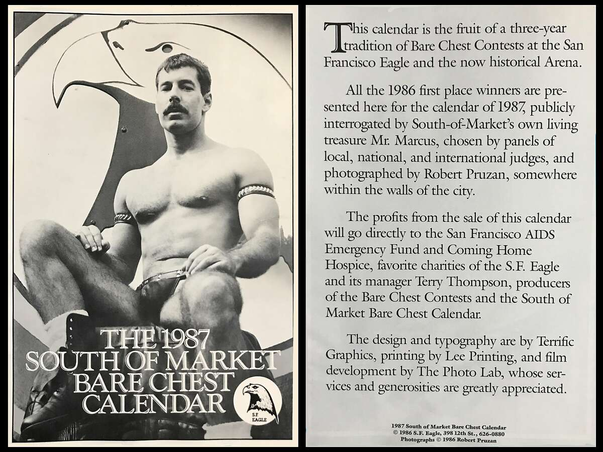The 1987 Bare Chest Calendar uses the Eagle logo as backdrop.