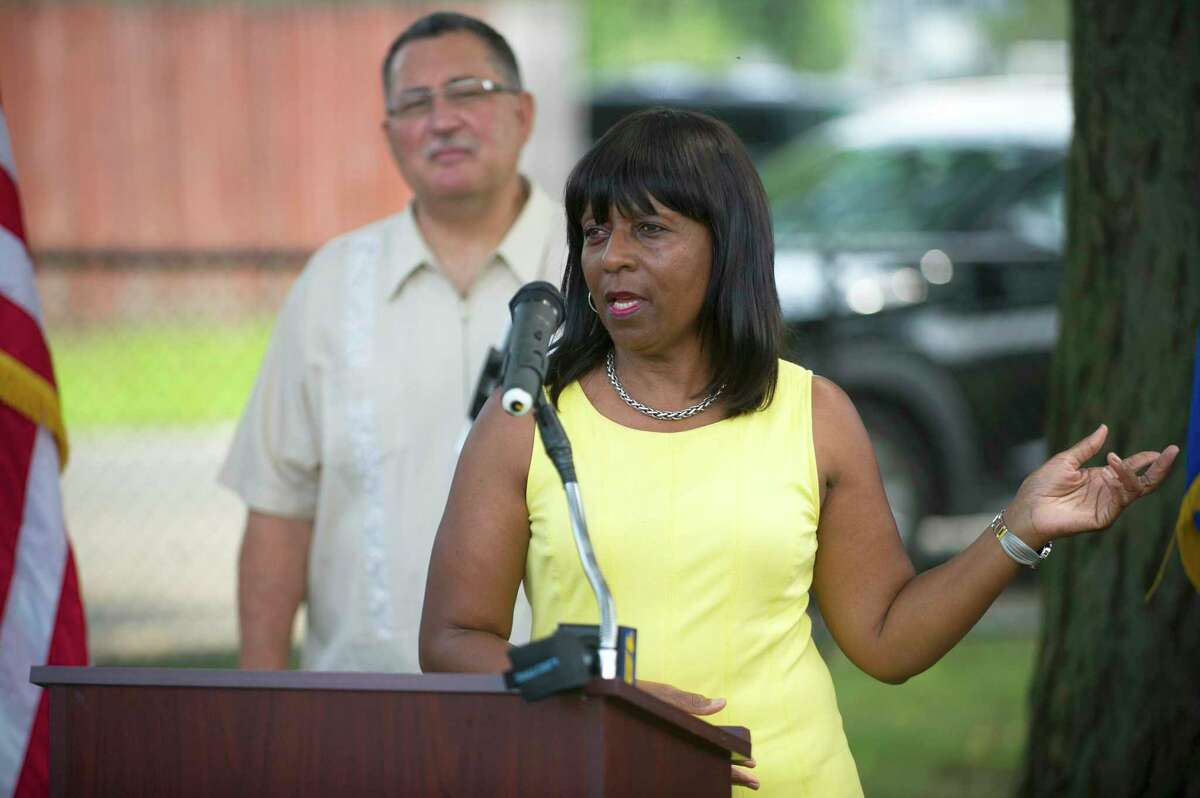 Rep. Gloria DePina (D-5) speaks during the ribbon-cutting ceremony for the improvements at Lione Park in Stamford, Conn. on Monday, Aug. 27, 2018.