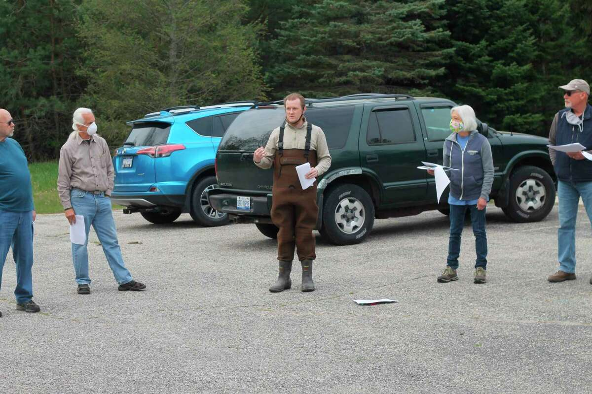 Josh Shields, Manistee Conservation District forester and wildlife biologist, leads a training meeting for volunteers Saturday as as part of the MCD's volunteer stream monitoring program. (Kyle Kotecki/News Advocate)
