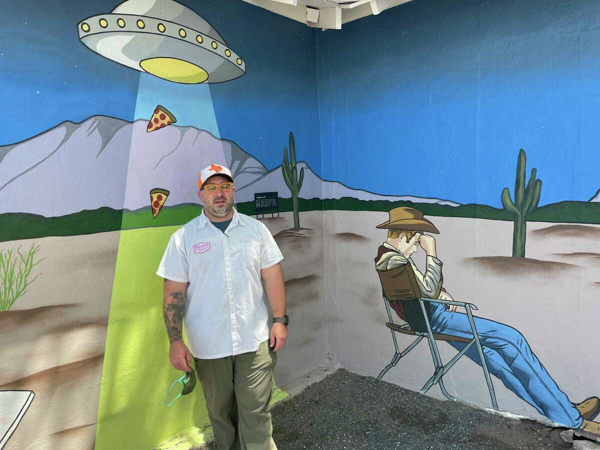 Seth Seigel-Gardner commissioned a mural for his Marfa eatery, Para Llevar, by Houston artist Alex Roman, Jr., known as Donkeyboy.