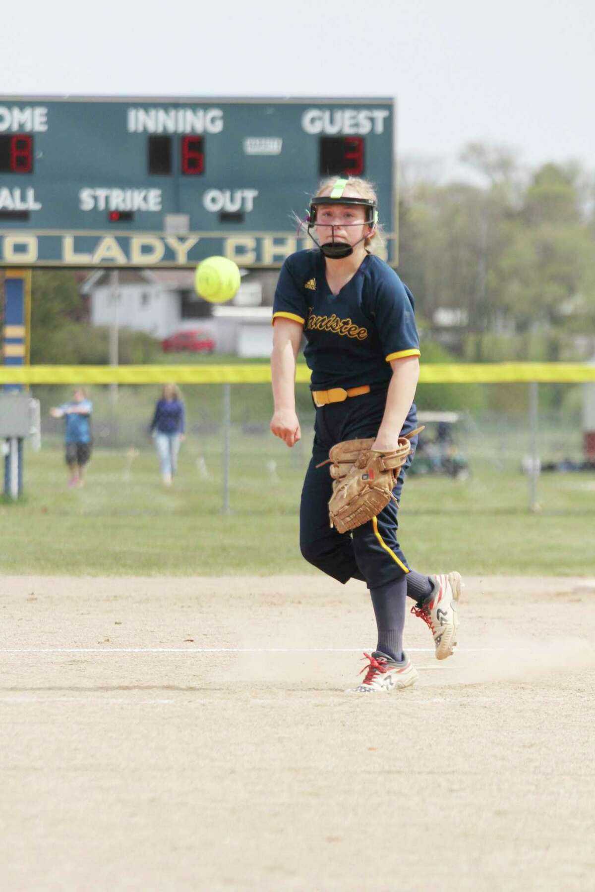 Manistee's Addy Witkowski delivers a pitch during the Chippewa 350 Club Invite on Saturday in Manistee. (Dylan Savela/News Advocate)