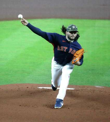 Houston Astros starting pitcher Lance McCullers Jr. (43) pitches during the first inning of an MLB baseball game at Minute Maid Park, Sunday, May 16, 2021, in Houston. Photo: Karen Warren, Staff Photographer / @2021 Houston Chronicle