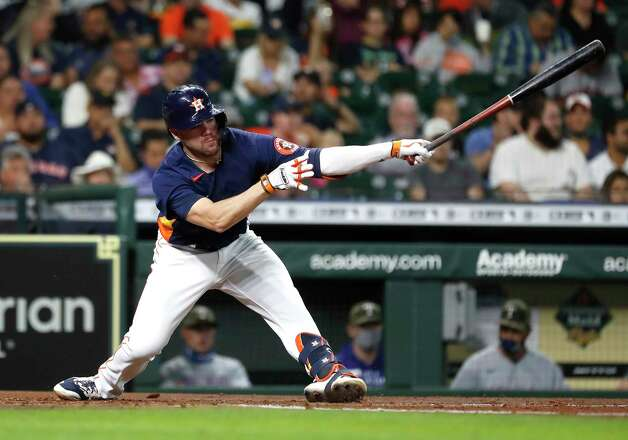 Houston Astros Chas McCormick (20) strikes out against Texas Rangers starting pitcher Kyle Gibson during the second inning of an MLB baseball game at Minute Maid Park, Sunday, May 16, 2021, in Houston. Photo: Karen Warren, Staff Photographer / @2021 Houston Chronicle