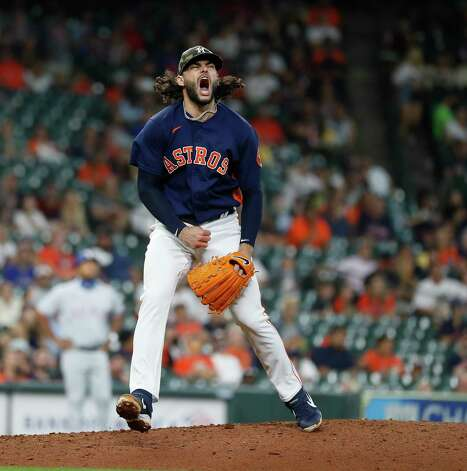 Houston Astros starting pitcher Lance McCullers Jr. (43) reacts after Texas Rangers Adolis Garcia flied out to end the top of the sixth inning of an MLB baseball game at Minute Maid Park, Sunday, May 16, 2021, in Houston. Photo: Karen Warren, Staff Photographer / @2021 Houston Chronicle
