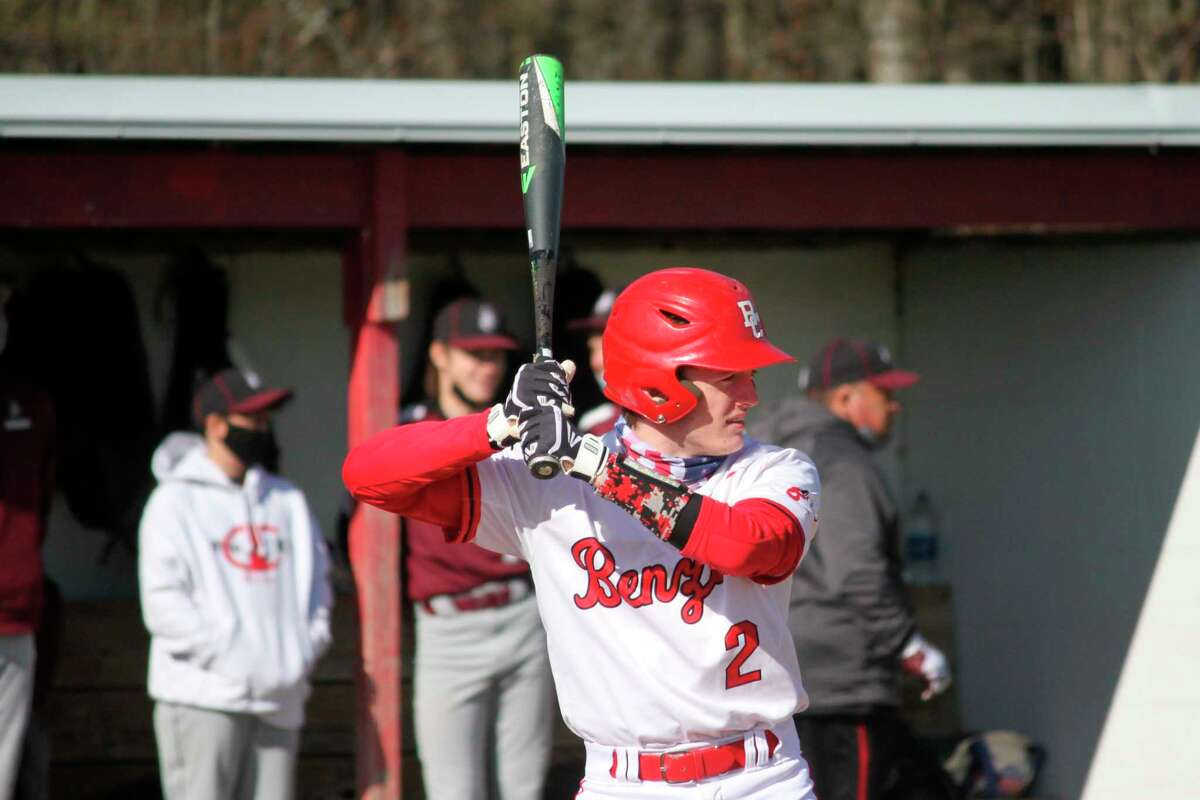 Sam Ross stands at the plate during a game earlier this season for Benzie Central. (Record Patriot file photo)