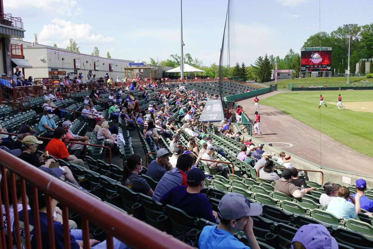 Fans watch as the Tri-City ValleyCats play an exhibition game on Sunday, May 16, 2021. About 2,500 fans are expected on opening night.