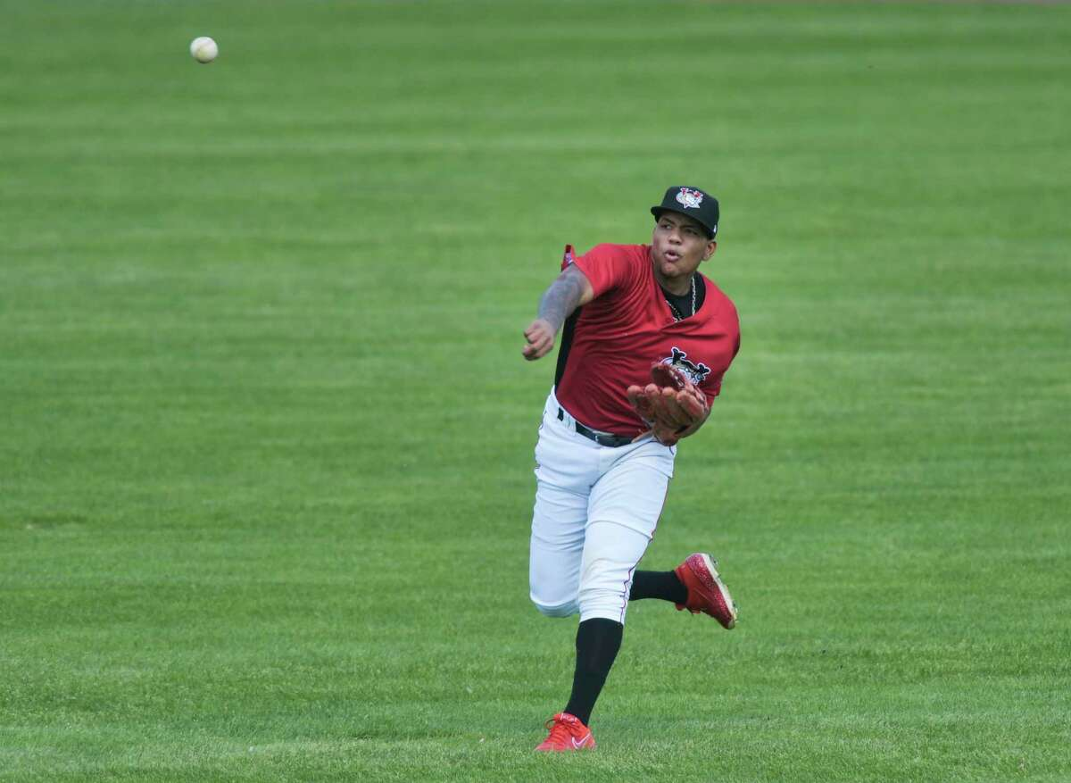 Miguel Tejeda throws the ball back to the infield during a Tri-City ValleyCats exhibition game on Sunday, May 16, 2021, in Troy, N.Y. (Paul Buckowski/Times Union)