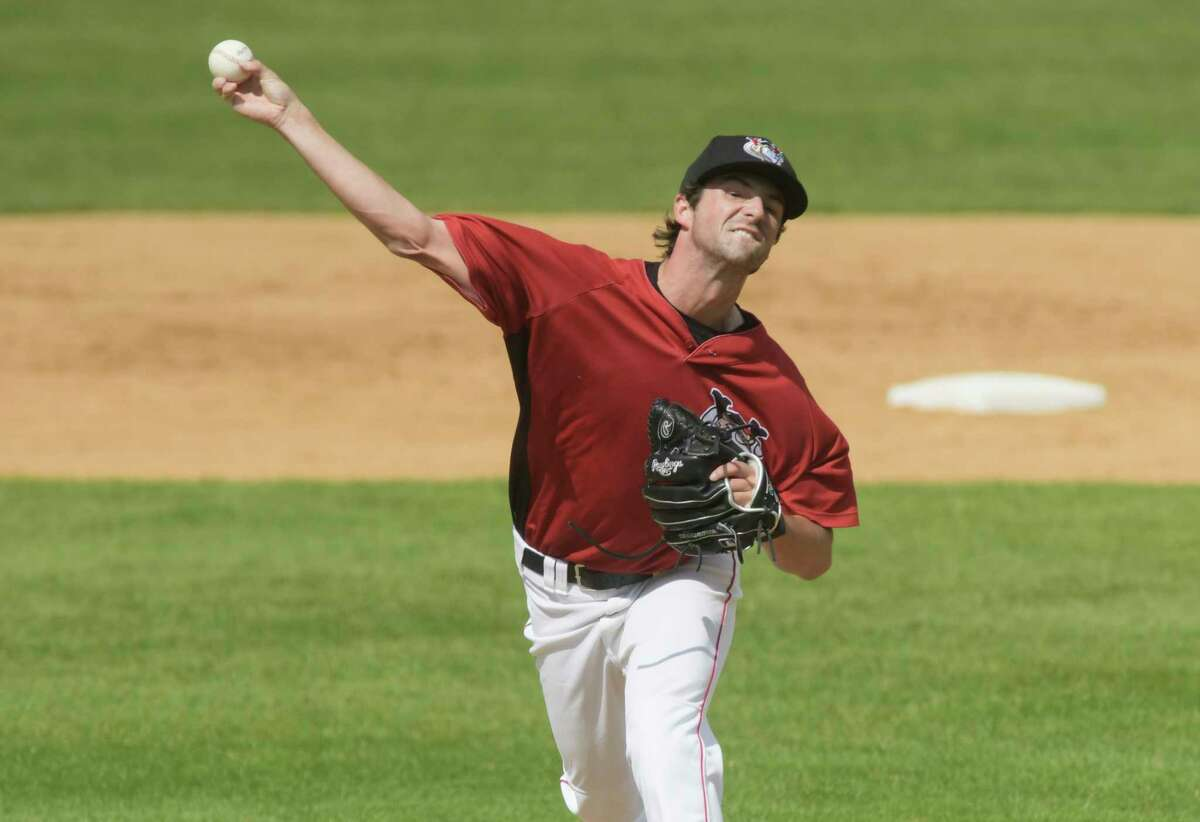 Tri-City ValleyCats pitcher Josh Hiatt throws a pitch during their exhibition game on Sunday, May 16, 2021, in Troy, N.Y. (Paul Buckowski/Times Union)