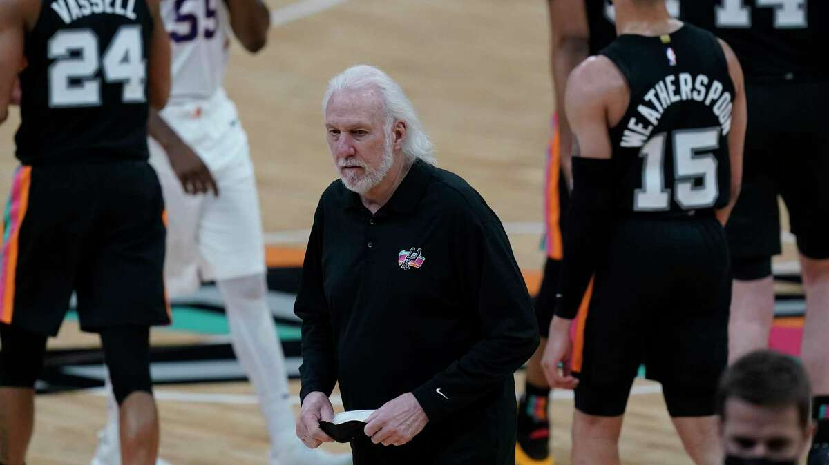 """Spurs coach Gregg Popovich he said he didn't think he'd """"ever been more proud of a team that doesn't quit."""""""