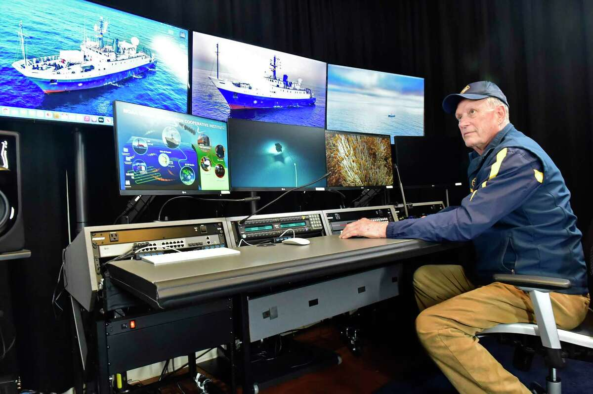 Undersea explorer Robert D. Ballard sits in a control room at an undisclosed land-bound location in Connecticut that is used to connect with his exploration ship, E/V Nautilus and control his submersibles when not on board the ship. Ballard, an American oceanographer and marine geologist whose pioneering use of deep-diving submersibles laid the foundations for deep-sea archaeology, is best known for discovering the wreck of the Titanic in 1985.