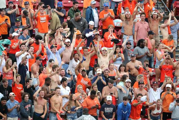Sam Houston State fans celebrate after the Bearkats 23-21 win over South Dakota State to capture the NCAA FCS national football championship on Sunday, May 16, 2021, in Frisco. Photo: Brett Coomer/Staff Photographer / © 2021 Houston Chronicle
