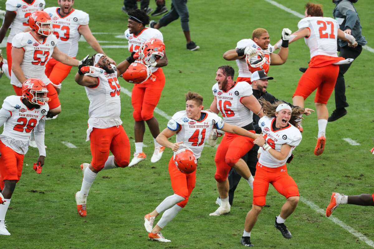 Sam Houston State celebrates its 23-21 win over South Dakota State to capture the NCAA FCS national football championship on Sunday, May 16, 2021, in Frisco.