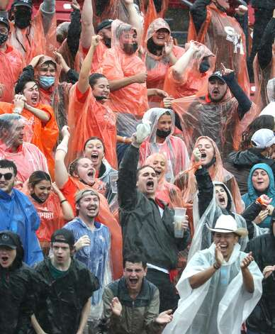 Sam Houston State fans cheer during the first quarter of the NCAA FCS national football championship game against South Dakota State on Sunday, May 16, 2021, in Frisco. Sam Houston took the title with a 23-21 win. Photo: Brett Coomer/Staff Photographer / © 2021 Houston Chronicle