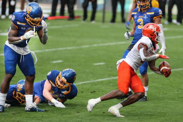 Sam Houston State wide receiver Ife Adeyi (2) hauls in a 10-yard touchdown reception against South Dakota State during the fourth quarter of the NCAA FCS national football championship game on Sunday, May 16, 2021, in Frisco. Sam Houston took the title with a 23-21 win. Photo: Brett Coomer/Staff Photographer / © 2021 Houston Chronicle