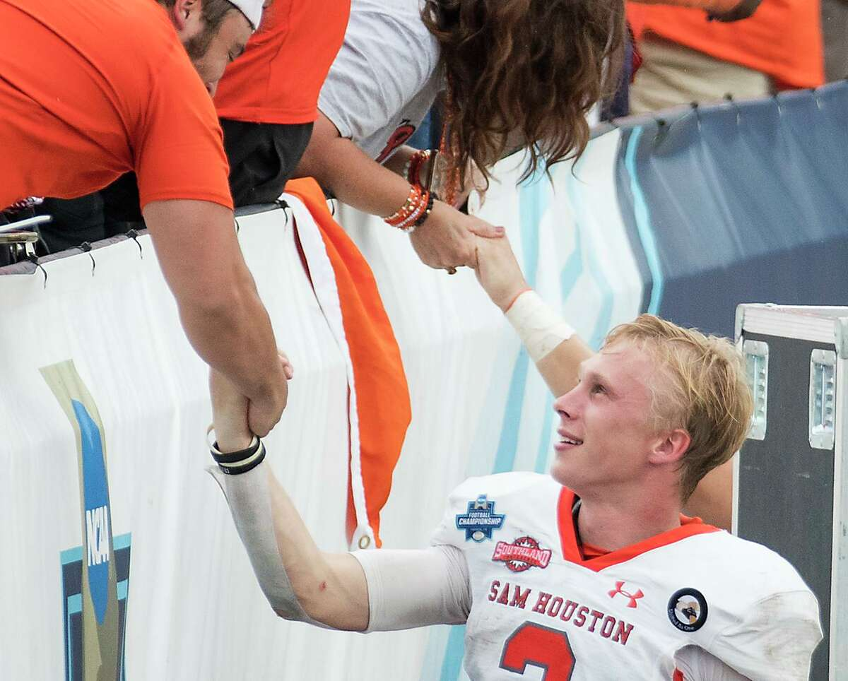 Sam Houston State fans had to hand it to quarterback Eric Schmid after he guided the Bearkats to their first national championship with Sunday's 23-21 win over South Dakota State in Frisco.