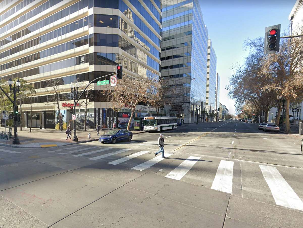 The intersection of 14th and Broadway in downtown Oakland.
