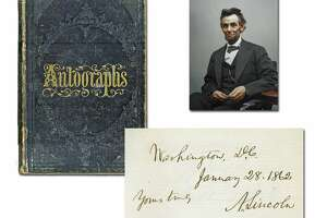 Victorian autograph album containing the signature of Abraham Lincoln and 226 members of his administration and Congress, including future President Andrew Johnson.