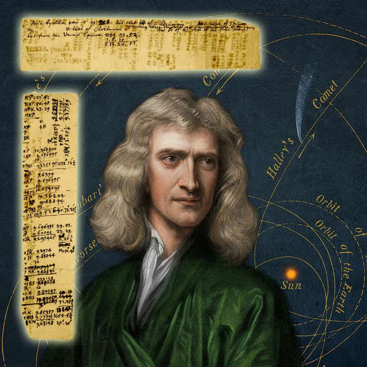 Sir Isaac Newton's handwritten notes and calculations speculating about the exact position of stars and comets, ideas later formalized in his iconic work, Principia.