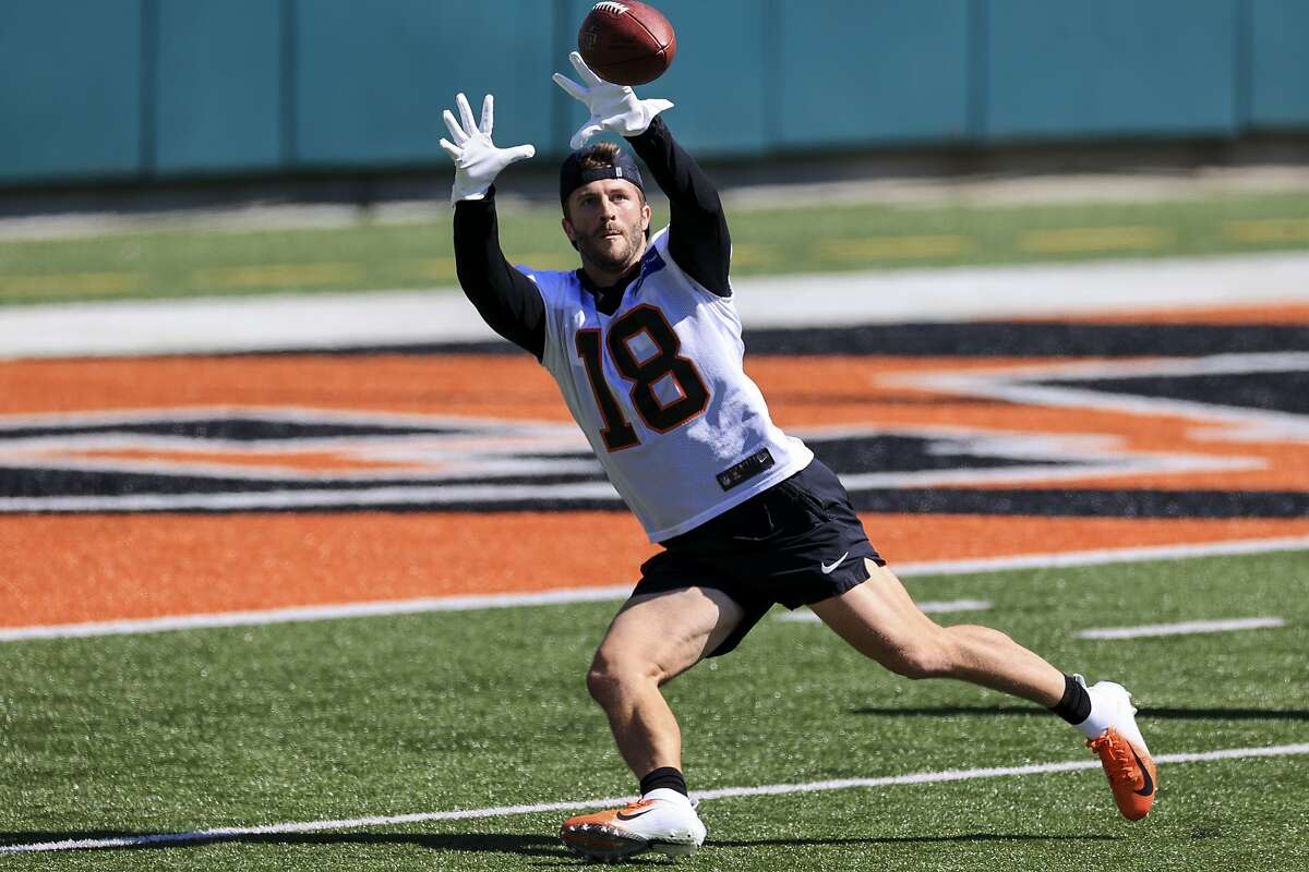 Cincinnati Bengals wide receiver Trent Taylor runs a drill during an NFL football rookie minicamp in Cincinnati, Friday, May 14, 2021. (AP Photo/Aaron Doster)