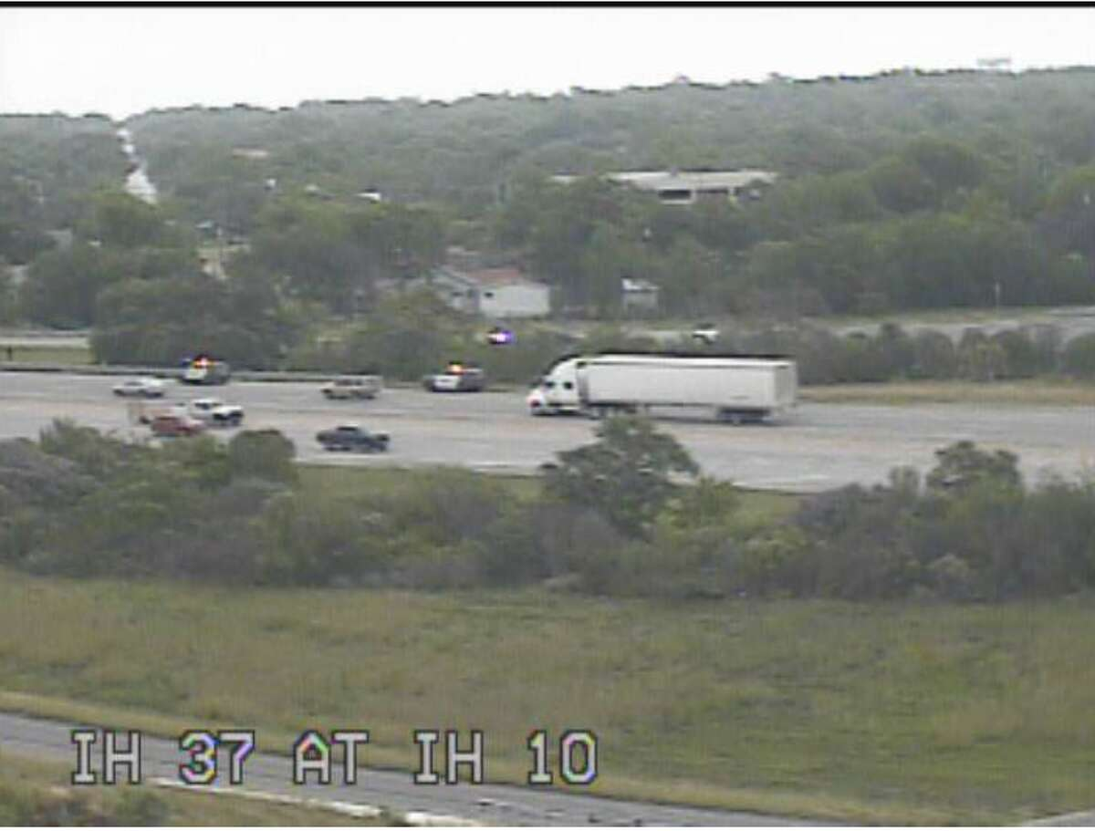 San Antonio police have shut down the Interstate 37 southbound ramp to Interstate 10 for an active call, according to an SAPD tweet at around 10:30 a.m. The photo was taken from the Texas Department of Transportation traffic cameras.