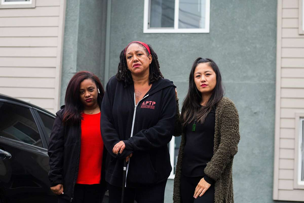 Mabel Kimble (left) with Cat Brooks, executive director of the Anti Police-Terror Project, and Carina Lieu. The three helped call in intervention in a potentially violent standoff.