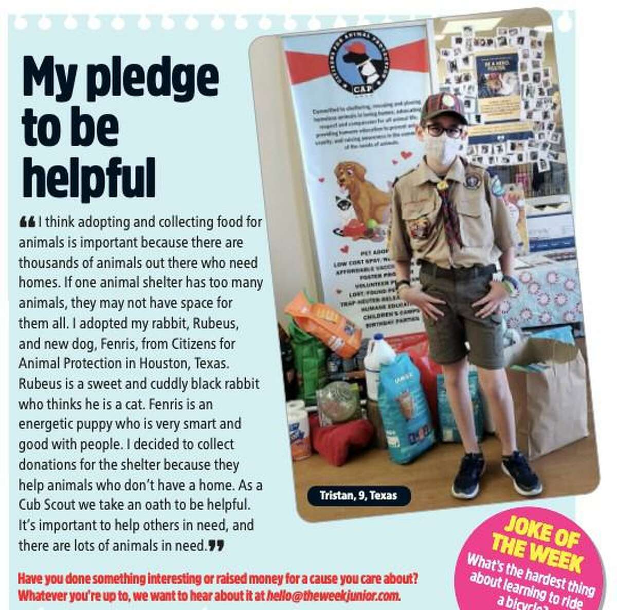 Tristan Davis is not only a Cub Scout and volunteer, but also a published author in