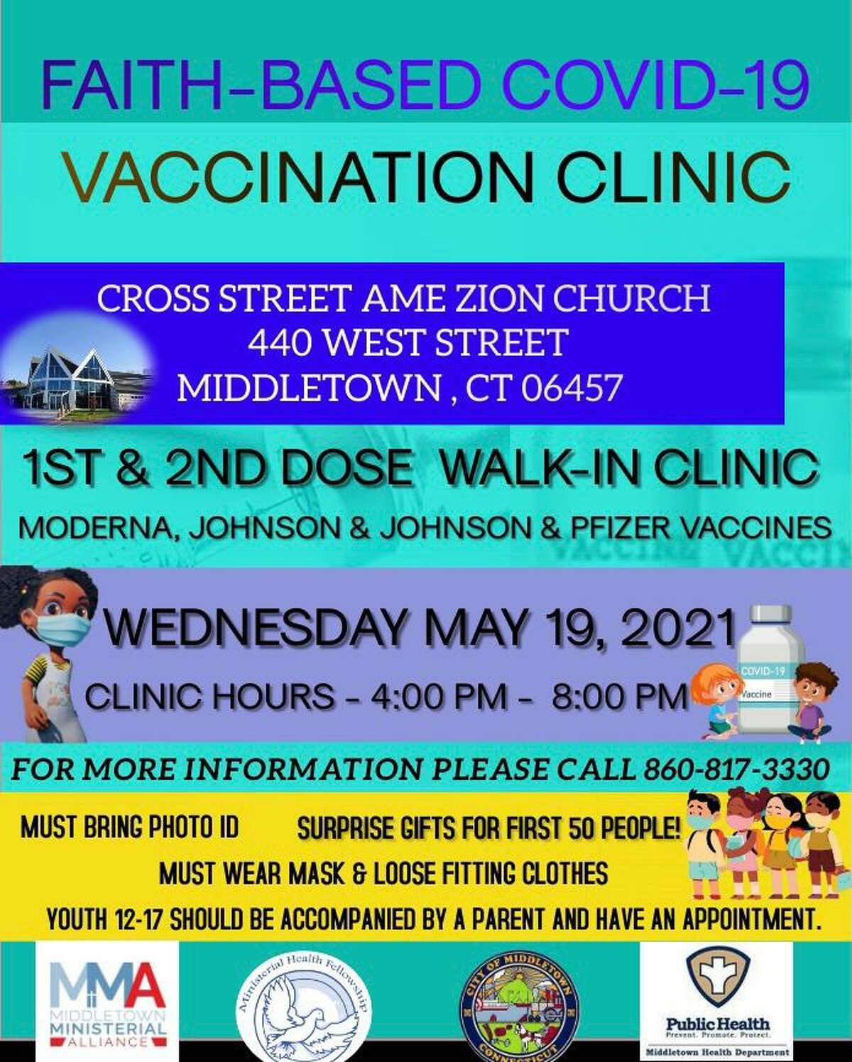 Cross Street AME Zion Church, 440 West St., Middletown, will be offering a COVID-19 vaccination clinic for those who need their first or second shots Wednesday.