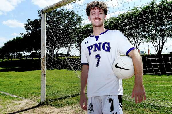 Port Neches - Groves' Jason Lovejoy is the boy's soccer Super Gold Player of the Year. Photo made Friday, May 14, 2021 Kim Brent/The Enterprise