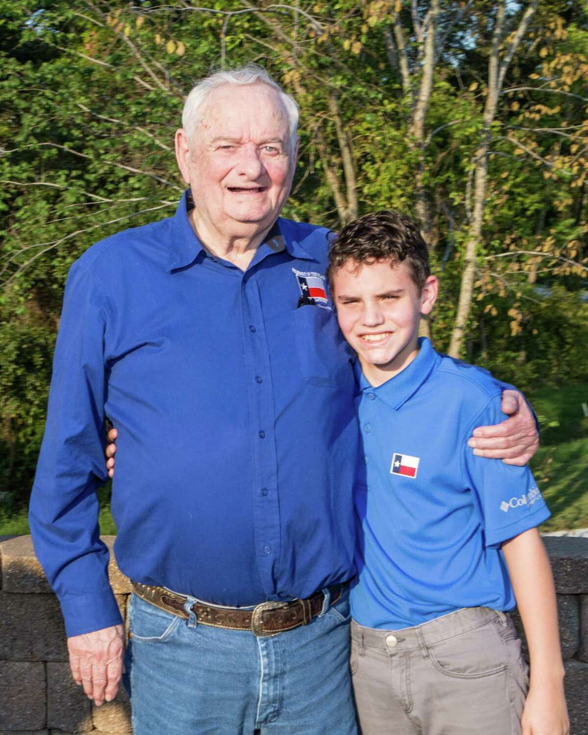 Jim Walker and his grandson Jaden Roles at the 2020 Flag Raising Ceremony at the Lone Star Monument & Historical Flag Park.