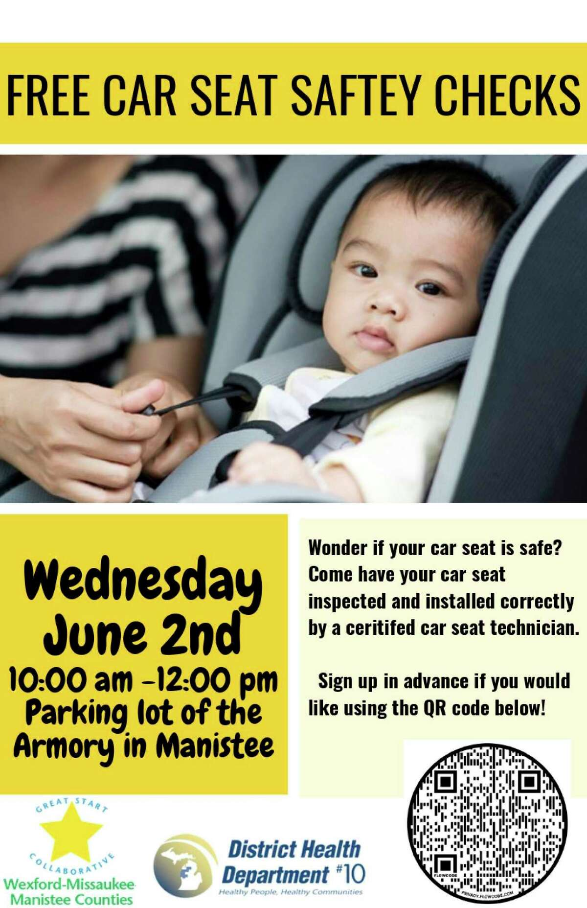 A free car seat safety check will be held in the Armory Youth Project parking lot on June 2 from 10 a.m. to noon. (Courtesy graphic)